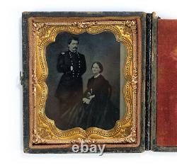 1860s Antique Tintype Photograph General McClellan & Wife Civil War Era
