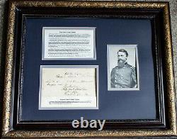1862 Civil War Brigadier General George Stoneman Autograph Signature Framed