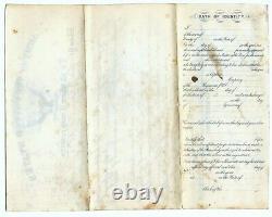 1868 post Civil War Army discharge signed General John Mason, San Antonio Texas