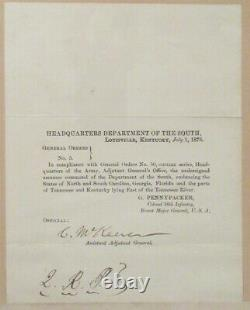1872 Civil War General George Meade Letter of Introduction for Gen. Pennypacker