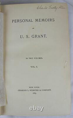 1885 PERSONAL MEMOIRS OF GENERAL ULYSSES S. GRANT Civil War 1st SIGNED ON CARD