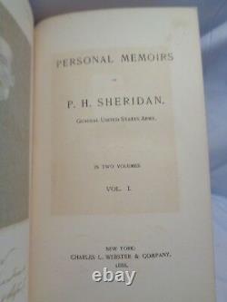 1888 Historical Memoirs General Sheridan Civil War w Maps Illustr 2 vol