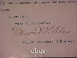 1894 Major General Nelson A Miles Signed Autographed Letter Civil War Indian War