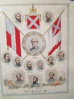 1960 Print Generals Of The Confederacy Lee CIVIL War Art David Silvette Rare Old