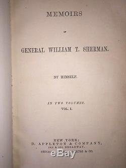 1st Edition Vintage 1875 Book Memoirs General William Sherman Civil War, Vol 1