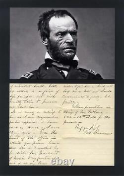 AMERICAN CIVIL WAR GENERAL William Tecumseh Sherman autograph letter signed & mo