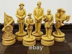 American US Civil War Generals Antiqued Chess Set With 17 Fortress Castle Board