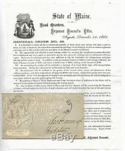 Antique 1863 MAINE CIVIL WAR General Order SOLDIER RE-ENLISTMENT Paper Document