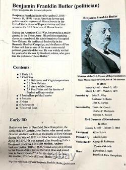 Antique Civil War General Benjamin Butler Miniature Lead Bust Paperweight Mass