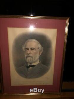 Antique Commemorative General Robert E. Lee Portrait Civil War Framed Portrait