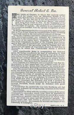 Antique DUKE HONEST LONG CUT TOBACCO CARD GENERAL ROBERT E LEE Civil War