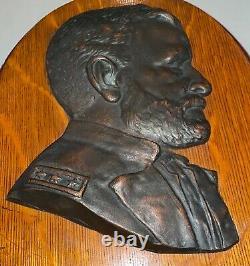 Antique GENERAL ULYSSES S GRANT Cast Metal Relief Bust WALL PLAQUE 14 Civil War