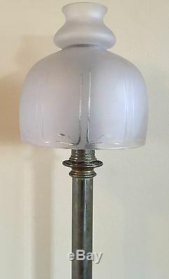 Antique Palmer & Co LG Candle Lamp & Shade c. 1850 Civil War General Estate