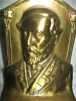 Antique Us CIVIL War General Robert E. Lee Jennings Brothers Art Statue Bookends