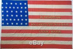 C1877 Silk 38 Star Us American Flag, General Lander CIVIL War Gar Post, Lynn Ma