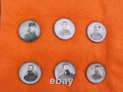 Civil War 6 Buttons Generals with Clear Celluloid Cover
