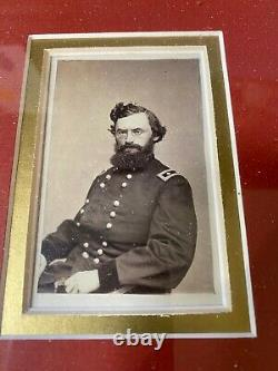 Civil War CDV Union General Carl Schurz with Autograph Framed