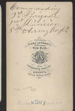 Civil War CDV Union General Joseph Bartlett Great Period Inscription