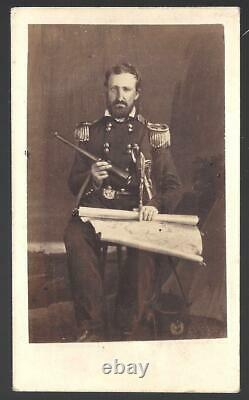 Civil War CDV of General William Rosecrans with Map and Spyglass