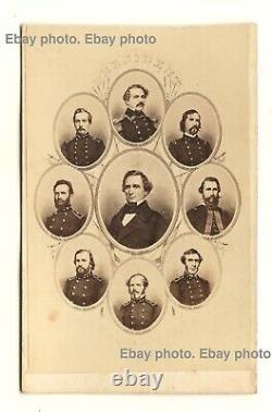 Civil War Confederate generals Jefferson Davis, Robert E. Lee, Bragg CDV photo