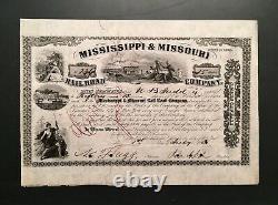 Civil War General John A. Dix Signature on 1857 Stock, Mississippi & Missouri RR