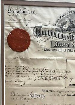 Civil War General John Geary Autographed Document as PA Governor