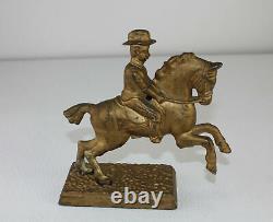 Civil War General Sheridan Riding Horse Winchester CastIron Figural Bank Antique