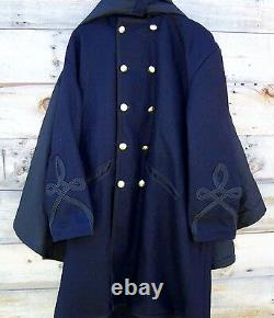 Civil war union federal general double breasted cloak coat pleated with cape 46