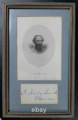 Confederate Civil War General Edmund Kirby Smith Framed Autograph Excellent
