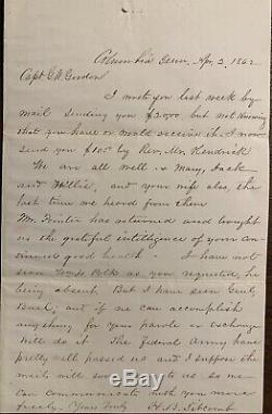 Confederate General G. W Gordon POW Camp Chase Letter Cover Civil War KKK Leader