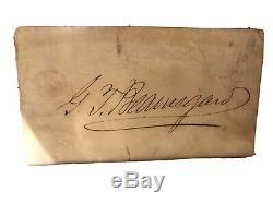 Confederate General P. G. T. Beauregard Historic Autograph Signed Civil War Relic