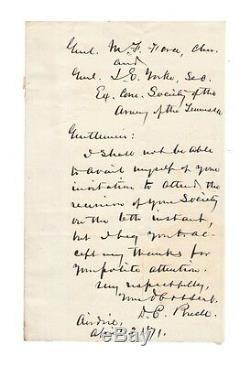 Don Carlos Buell Civil War General 1871 Autographed Letter Authentic