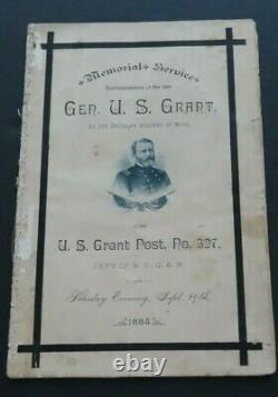 GENERAL U. S. GRANT 1885 Memorial Service Program N. Y. G. A. R. Civil War