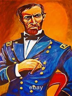 GENERAL WILLIAM T. SHERMAN PRINT poster civil war uniform military history cigar