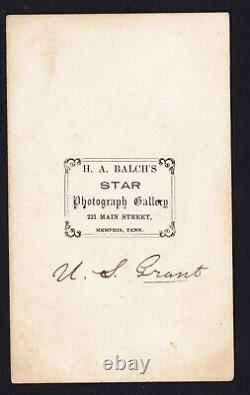 JC&C -RARE- CDV Civil War General Ulysses S. Grant Carte de Visite Signed