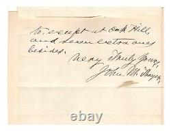 John M. Thayer Civil War General Autographed Letter! Authentic! BOLD Writing
