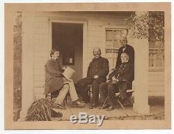 Large 1860s Civil War Photo of General Burnside on Porch Gen'l Anderson & Other