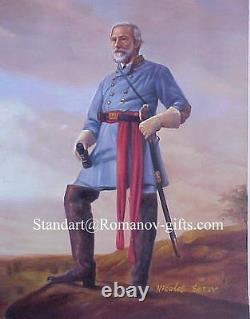 Oil Painting Confederate General Robert E. Lee Civil War