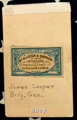 Original CIVIL War CDV Of Brig. General James Cooper + Autograph Died Camp Chase