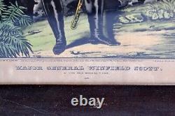 Original N. Currier Hand-Colored Lithograph General Winfield Scott Civil War E