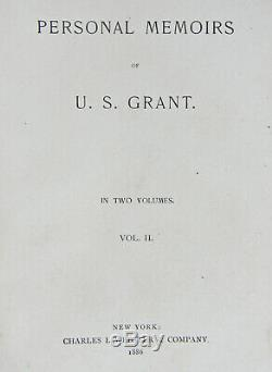 PERSONAL MEMOIRS U S GRANT Antique 1ST EDITION Civil War CSA General Ulysses MAP