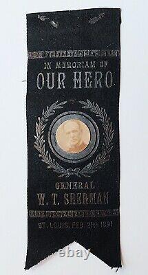 RARE General William Tecumseh Sherman Funeral Ribbon. Original Post Civil War