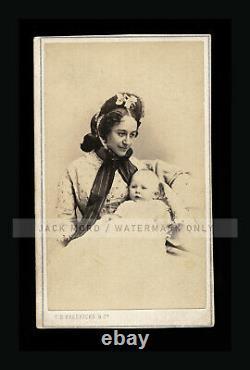 Rare CDV Wife & Son of Civil War General McClellan by CD Fredricks 1860s Photo