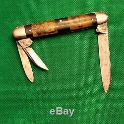 Rare Old Novelty Cut Co Civil War General Picture Whittler Pocket Knife Knives