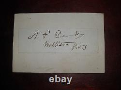 Signature Civil War Union Major General Nathaniel P. Banks
