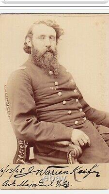 Superb Civil War Signed Cabinet Card Brevet General J. Warren Keifer Very Rare
