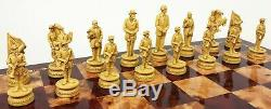 US American Civil War Generals Antiqued Chess Set With 18 Cherry Color Board