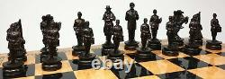 US American Civil War Generals Antiqued Chess Set With 18 Walnut Color Board