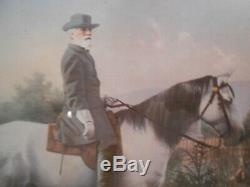 Vintage Civil War General Robert E Lee on Traveller, framed and matted