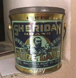 Vintage General SHERIDAN BRAND Lard 4 Lbs. Sheridan, Wyoming Civil War Calvary